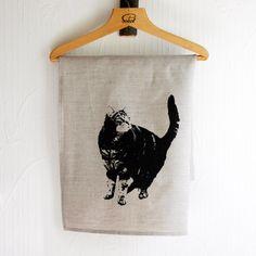 Cat teatowel. $18.00, via Etsy.  Handprinted teatowel by Strand redesign.