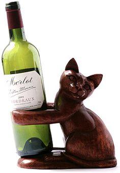 Little Kitten Carving --Wine Bottle Holder