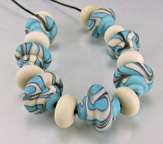 Etched Turquoise Ivory Black Baroque Lampwork by skyvalleybeads