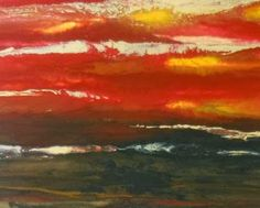 """Original Contemporary Abstract Red Sky Landscape Painting,""""The Heat is On II"""" by Colorado Contemporary Artist Kimberly Conrad"""