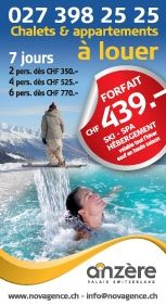 Forfait Ski Spa et hébergement  Réservez une semaine à Anzère. Faites profiter tous vos sens d'un séjour de détente et de divertissement. Ressourcez-vous en profitant du forfait Ski Spa & location vacances à Anzère.    Le forfait comprend:    - 7 nuits en appartement / chalet    - 6 jours de ski    - 5 entrées au Spa    dès CHF 439.-/personne Mountain Living, Real Estate Agency, Swiss Alps, Skiing, Spa, Entertainment, Ski, Real Estate Office