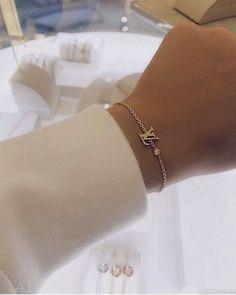 Lv Bracelet + Lv – Famous Last Words Hand Jewelry, Dainty Jewelry, Cute Jewelry, Luxury Jewelry, Jewelry Accessories, Fashion Accessories, Fashion Jewelry, Stylish Jewelry, Bijoux Piercing Septum