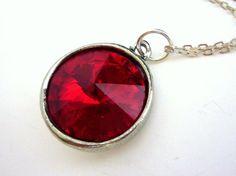 Siam Necklace Red Rivoli Swarovski Crystal Drop by EstyloJewelry, $23.00    #EstyloContest