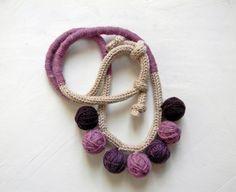 Purple wool beads statement necklace Women's jewelry by ylleanna