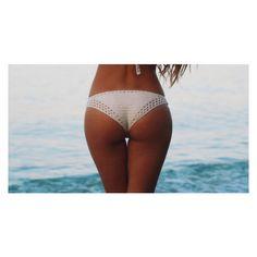 Desert Crochet Bikini Bottom (92 AED) ❤ liked on Polyvore featuring swimwear, bikinis, bikini bottoms, black, women's clothing, black tankini, tankini swimwear, bandeau tankini, lace bikini bottoms and lace bikini swimwear