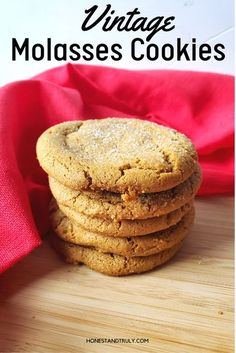 This vintage recipe for homemade molasses cookies is a family favorite. An heirloom recipe for a classic Christmas cookie passed down from my great grandmother, this easy recipe makes soft and chewy… More Best Sugar Cookie Recipe, Delicious Cookie Recipes, Best Cookie Recipes, Holiday Recipes, Christmas Recipes, Spice Cookies, Yummy Cookies, Cake Cookies, Making Cookies