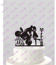 Wedding Cake Topper Sagoma Coppia Sulla Moto Mr Mrs Personalizzato Con Nome Acrilico CT122