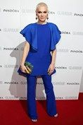 Jessie J in a cobalt blue Gucci outfit at the GLAMOUR Awards 2013.