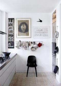 "hang the kitchen tools up on the wall with ""S"" garden hook"
