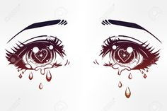 anime eyes: Crying beautiful eyes in anime or manga style with teardrops  and light reflections