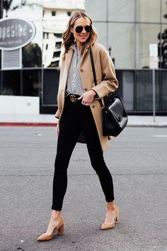 58cbef369794 Fashion Jackson Wearing Everlane Camel Coat Black White Stripe Button Down  Shirt Black Skinny Jeans Black