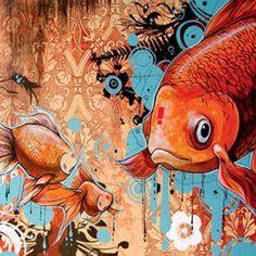 Thank you Blaine Fontana and Juxtapoz Magazine by Justin Cooper Koi, Communication Art, Electronic Art, Fish Art, Art Design, Artist Painting, Amazing Art, Awesome, Photo Art