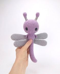 PATTERN: Dahlia the Dragonfly - Crochet dragonfly pattern - amigurumi dragonfly pattern - crocheted dragonfly - PDF crochet pattern Crochet Dragonfly Pattern, Crochet Monkey Pattern, Crochet Animal Patterns, Stuffed Animal Patterns, Amigurumi Patterns, Amigurumi Doll, Crochet Animals, Amigurumi Tutorial, Amigurumi For Beginners