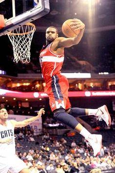 Washington Wizards forward Trevor Booker gets a rebound