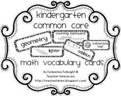 Two Fulbright Hugs ~ Teacher Time Savers: Common Core Math Vocabulary Cards {with visuals} Common Core Vocabulary, Common Core Curriculum, Math Vocabulary, Common Core Math, Common Core Standards, Kindergarten Teachers, Math Classroom, Teaching Math, Kindergarten Freebies