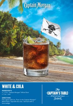 The Captain and his first mate deliver a whole new flavor in this cocktail! #Captain #Morgan #simple #drinks #recipe #white #rum #cola