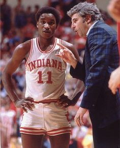 Isiah Thomas and Bobby Knight of the Indiana Hoosiers