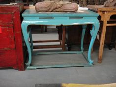 Asian Inspired Console Table Turquoise with Curved Los Angeles by housecandyla, $999.00