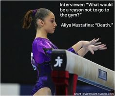 Aliya Mustafina! Lol. This is basically what my volleyball coaches would say to us and what we would repeat. It's crazy but volleyball can be a very serious, political sport. When I played at Ace, it was as if you were the best on the team but if you weren't at every practice in the 4 weeks before the tournament, you would be on the court in the first match!! @Sydney Martin Hulme @Molly Simon Phillips