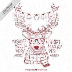 renas fundo esboçado moderno com mensagens de natal Vetor grátis