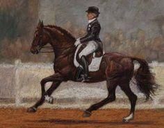 "Daily Paintworks - ""Dressage Horse - Calecto V and Tina Konyot"" - Original Fine Art for Sale - © Sue Deutscher"