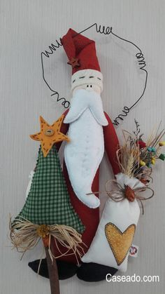 Prim Santa and Christmas Tree Art Christmas Gifts, Christmas Love, Christmas Decorations To Make, Christmas Projects, Handmade Christmas, Christmas Holidays, Christmas Crafts, Christmas Ornaments, Christmas Applique