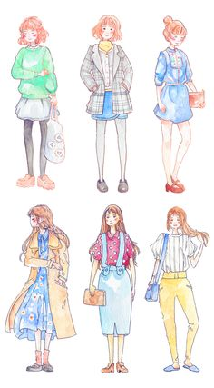 Fashion illustration stickers inspired by Korean drama 'Strong Woman Do Bong Soon' and 'Tomorrow With You' Watercolor Fashion, Fashion Painting, Fashion Art, Girl Fashion, Daily Fashion, Korean Illustration, Character Illustration, Illustration Art, Art Illustrations