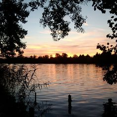 Beautiful sunset over the river, in Rackeve, Hungary
