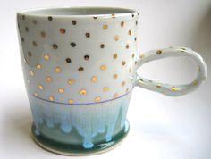 MADE TO ORDER Gold Polka Dot Porcelain Mug by SilverLiningCeramics, $36.00