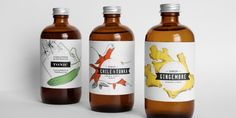 Playful, colorful labels for these spiced syrups.