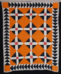 Pumpkin Orange and Indigo Bassinet Quilt with Flying Geese Border 1880  34 x 40  Ohio