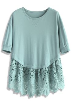 Lace for Love Dolly Top in Teal - Short Sleeve - Tops - Retro, Indie and Unique Fashion