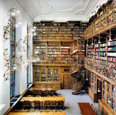 library. Love the spiral staircase!