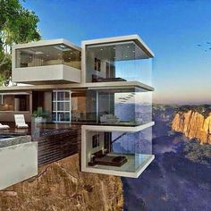 Glass house on the cliff