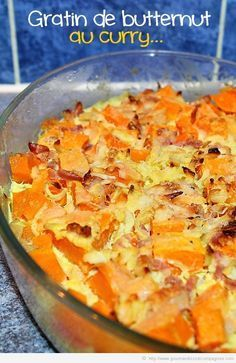 Gratin de butternut au curry Fruit Recipes, Veggie Recipes, Vegetarian Recipes, Healthy Recipes, Easy Diner, International Recipes, Easy Cooking, Food Preparation, Food Inspiration