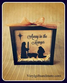 """Come check out our new Christmas shadow box vinyl """"Away in the Manger""""on our website. Our """"Jingle All the Way"""" shadow box has been such a huge hit, so we decided to come up with more designs. Also"""