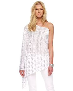 One-Shoulder Poncho Top, White or Navy by MICHAEL Michael Kors at Neiman Marcus.