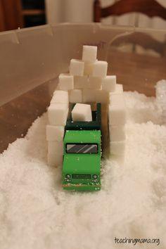 Winter Sensory Play- Day 2 Sugar cubes as snow blocks?