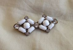 Vintage WEISS Designer Milk Glass and by SusieJaneJewels on Etsy