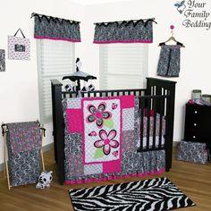 Black Pink Zebra Print Baby Girl Kid Crib Nursery Blanket Collection Bedding Set | eBay