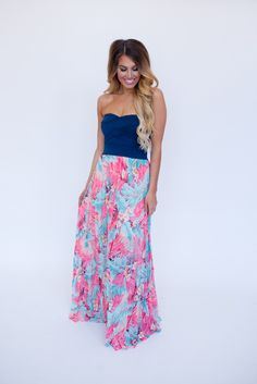 Dottie Couture Boutique - Navy/Tropical Pleated Maxi, $69.00 (http://www.dottiecouture.com/navy-tropical-pleated-maxi/?fullSite=1/)