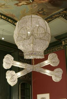 Glass and crystal Skull Chandelier by Rock and Royal Company
