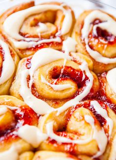 Strawberry Sweet Rolls with Vanilla Cream Cheese Glaze ~ Perfect breakfast for Valentine's Day!