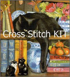 Cross Stitch Kit Black Cat by icrossstitchpattern on Etsy