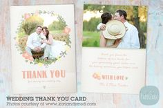 AW008 Wedding Thank You Card by Paper Lark  on @creativemarket