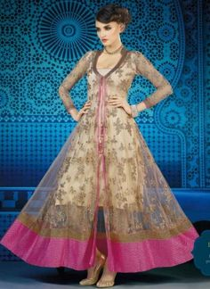 Classy Peach Net And Pink Border Embroidery Work Anarkali Suit  http://www.angelnx.com/Salwar-Kameez