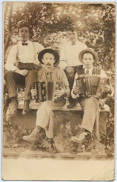 Men Boys Posing with Accordions 1910 18 RPPC Real Photo Postcard | eBay