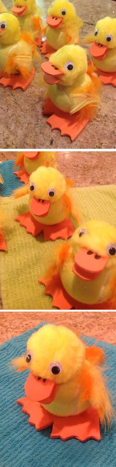 Ducky Tennis Ball Chicks  - I made these for all of my family and friends and I call them Chuckies; a cross between a chick and a duck - followed instructions from -  http://spoonful.com/crafts/just-ducky-tennis-ball-chick