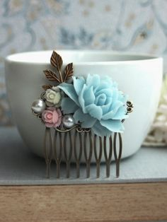 Aqua Blue Rose, Soft Pink and Ivory Flower Wedding Comb