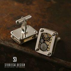 Srebrne spinki do mankietów SEN ZEGARMISTRZA Biżuteria Dla mężczyzn stobieckidesign